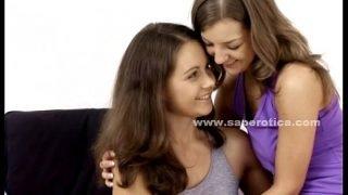 Cute teen lesbians touching each other