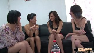 horny french lesbian babes having a sex party and they call their huge cock neighbour is well