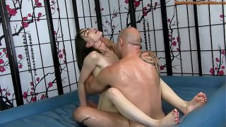 Sensual Oil Body Massage with Fucking tight pussy